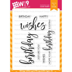WPlus9 Design Studio Clear Stamps, Birthday Wishes -