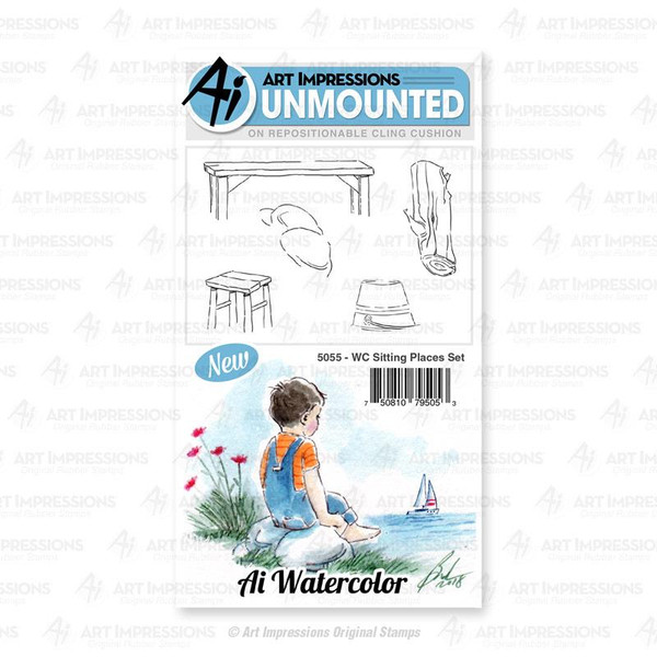 Watercolor Sititng Places, Art Impressions Cling Stamps - 750810795053
