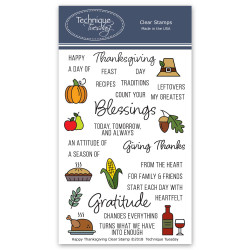 Happy Thanksgiving, Technique Tuesday Clear Stamps -