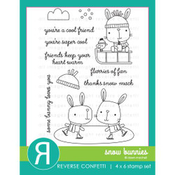 Snow Bunnies, Reverse Confetti Clear Stamps -