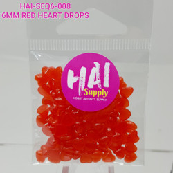 6mm Red Heart Drops, HAI Sequins -