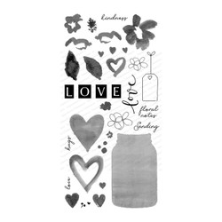 Hearts & Flowers for You, Impression Obsession Clear Stamps -