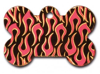 Flames Painted Bone Dog ID Tag