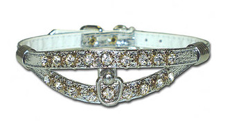 Majestic Vinyl and Rhinestone Split Back Dog Collar