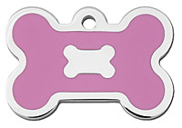 Chrome & Pink Epoxy Bone Dog ID Tag