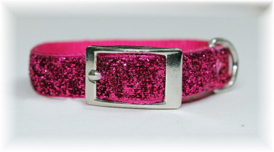"""The newest """"bling"""" in dog collars.  Glitter Glamour Dog Collars are made of 5/8 inch wide sturdy top of the line nylon.  Each has a glitter infused ribbon sewn on top for a twist on a regular nylon dog collar.  They  are durable and fashionable and will last a long time. Available in sizes to fit small to large breed dogs and available in gorgeous fashion colors."""