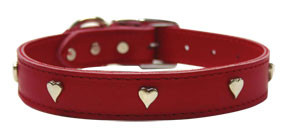 Leather Dog Collars w/Silver Hearts