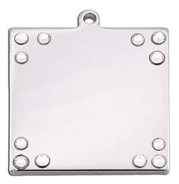 Square Chrome & Crystals Cat ID Tag-Dog ID Tag