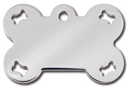Polished Chrome Bone Dog ID Tag with Bone Cutouts