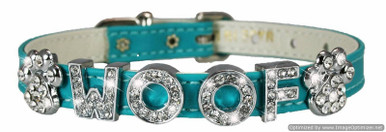 Leather Slider Dog Collar with rhinestone letters and charms. Personalize your puppy's collar with beautiful rhinestone letters that are rodium plated and will not tarnish.  Collars are high grade leather made in the USA.