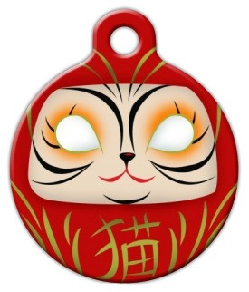 Daruma Cat ID Tag