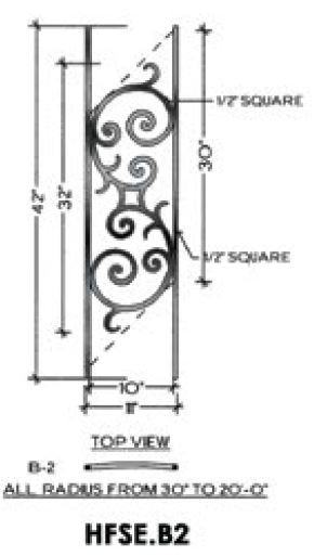Awesome B2 Seville Iron Panel For Angled Radius Stairs