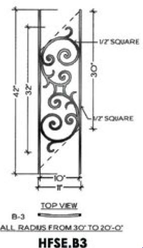 Perfect B3 Seville Iron Panel For Angled Radius Stairs