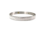 Stainless Steel Crystal Magnet Bangle Bracelet 7 inches Long, 8 mm Wide