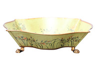 """Beautiful Hand Painted Dragonfly Footed Container Bowl 13.25"""""""