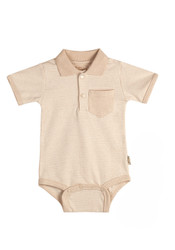 Eotton Certified Organic Cotton Baby  Bodysuit in Light Brown w/ Collar