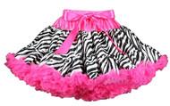 V Flourish Zebra with Hot Pink Waist and Hot Pink Ruffles Petti Baby & Toddler Skirt Tutu