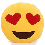 Emoticon Emoji Soft Yellow Round Cushion Pillow Stuffed Plush Toy Heart Eyes