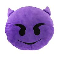 Emoticon Emoji Purple Round Cushion Pillow Stuffed Plush Toy Doll Demon
