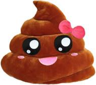 Emoji Smiley Emoticon Yellow Round Cushion Pillow Stuffed Plush Toy Pink Poop