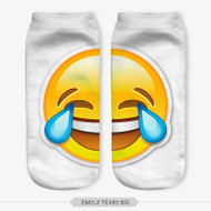 Emoticon Tears Emoji Big Ankle Socks White