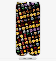 Emoticon Multi Emoji Stocking Socks Black One Size Fits All