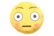Emoticon Emoji Soft Yellow Round Cushion Pillow Stuffed Plush Toy Flushed