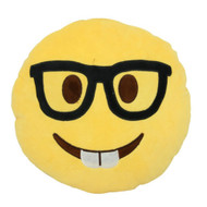 Emoticon Emoji Soft Yellow Round Cushion Pillow Stuffed Plush Nerd