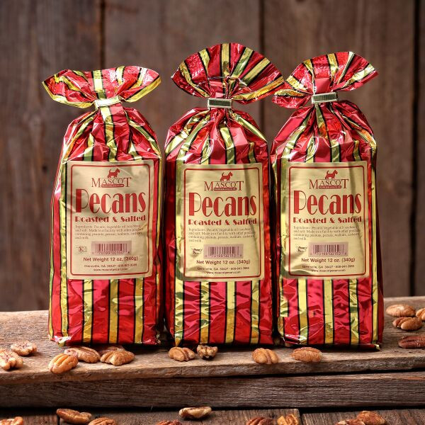 3 8oz bags of roasted and salted pecans