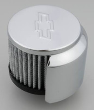 Air Breather Caps - Clamp-On Filter Air Breather, Fits 1-3/8th - Chrome, with hood