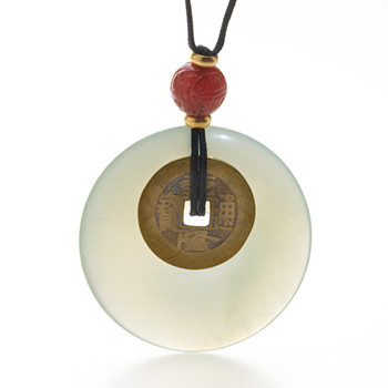 Jade & Carnelian I Ching Coin Necklace