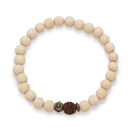 White Wood Mala Bead Bracelet