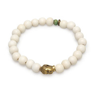White Wood Buddha Bead  Mala Bracelet