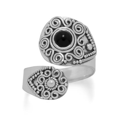 Oxidized Black Onyx Wrap Ring
