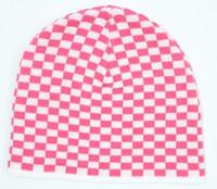 Check S pink-white mix beanie