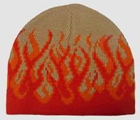 Fire H beige-red mix beanie