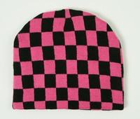 Check L pink-black mix beanie
