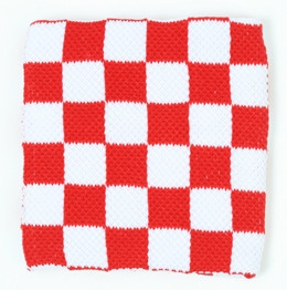 Check white-red sweat band accessory