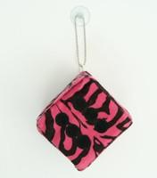 Dice zebra pink-black / black 1 dice car access