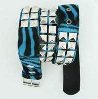 Zebra blue belt studs belt