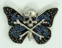 Butterfly skull blue big buckle