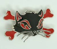 Cat bone black-red medium buckle
