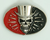 Skull hat black-red extra big buckle