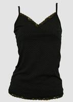 Front - Dot S black-pink top lace top