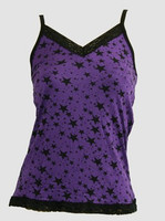 Front - 3 stars purple top lace top