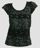Front - Flower black-grey top fashion top