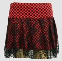 P Check red punk mini skirt