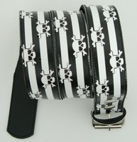 Skull stripe white skull belt