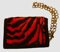 Zebra black-red fluffy with chain wallet