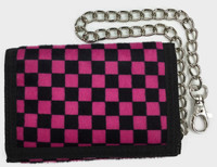 Check black-pink fluffy with chain wallet